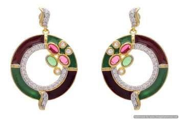AD STONE STUDDED ROUND MEENA BALI EARRINGS/HANGINGS (RED GREEN)  - PCFE3064