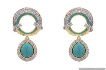 AD STONE STUDDED ROUND MEENA WORK PAN SHAPE DROP EARRINGS/HANGINGS (TURQUOISE)  - PCFE3102