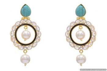 AD STONE STUDDED ROUND MEENA WORK CHAAND BAALI EARRINGS/HANGINGS (BLACK TURQUOISE)  - PCFE3163