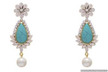 AD STONE STUDDED FLOWER STYLE EARRINGS/HANGINGS (TURQUOISE)  - PCFE3171