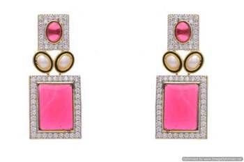 AD STONE STUDDED EARRINGS/HANGINGS (RED)  - PCFE3172