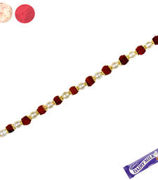 Buy Natural rudraksh bracelet rakhi with white pearl bracelet-rakhi online