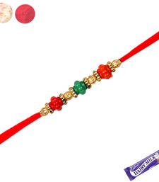 Buy Colorful crystals rakhi with red thread thread-rakhi online
