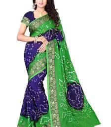 Buy Green Blue printed georgette saree With Blouse bandhani-sarees-bandhej online