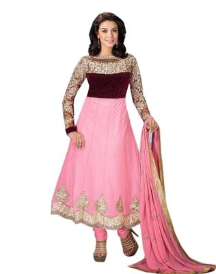 Triveni Impressive Pink Colored Net Salwar Kameez 3805