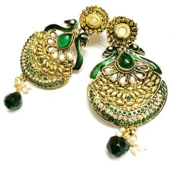 Green Color Peacock Earrings
