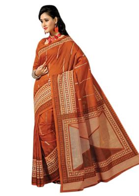 Triveni Sophisticated Orange Colored Cotton Printed Indian Traditional Saree