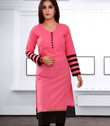 Buy Pink embroidered cotton semi stitched kurti kurtas-and-kurti online