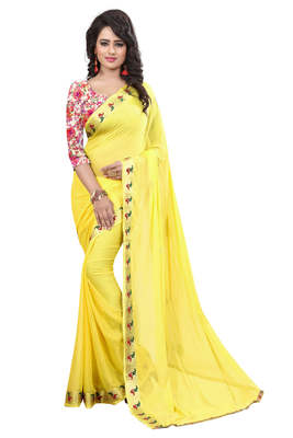 yellow plain nazneen saree With Blouse