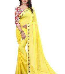 Buy yellow plain nazneen saree With Blouse ethnic-saree online