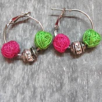 pink green color hoops