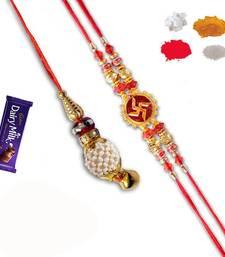 Buy Auspicious swastik and lumba rakhi set of bhaiya bhabhi bhaiya-bhabhi-rakhi online