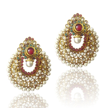 Amazing Red Green Pearl Polki Earrings by ADIVA ABCHI0BCD007 DDS 1