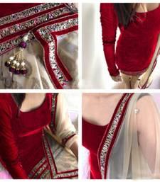 Buy Maroon velvet embroidered semi stitched salwar with dupatta black-friday-deal-sale online