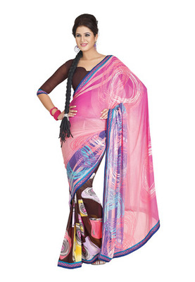 Fabdeal Casual Wear Pink & Brown Colored Georgette Saree