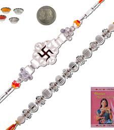 Buy Rajasthani handcrafted designer silver rakhi gift silver-rakhi online