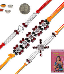 Buy Designer jaipuri work  stylish silver rakhi gift silver-rakhi online