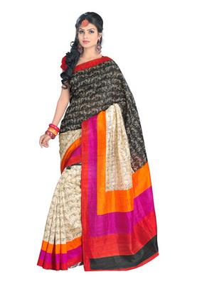 Fabdeal Casual Wear Black & Cream Colored Bhagalpuri Silk Saree