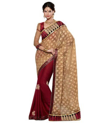 Dealtz Fashion Multi Embroidery Light Gold Brasso Saree