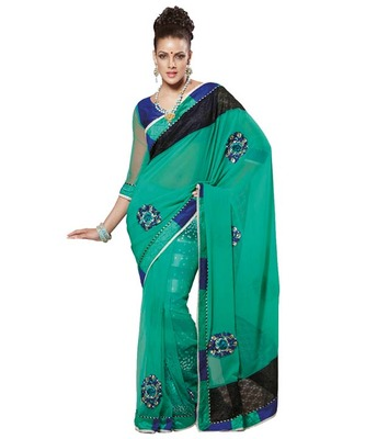 Dealtz Fashion Multi Embroidery Cyan Faux Georgette Saree