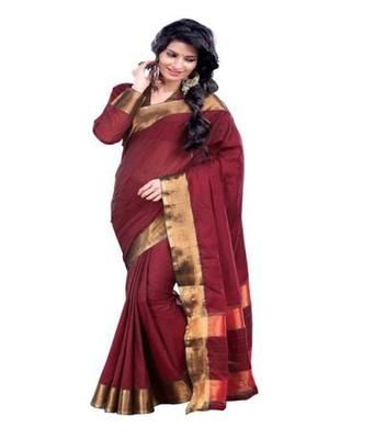Dealtz Fashion Red Cotton  Saree