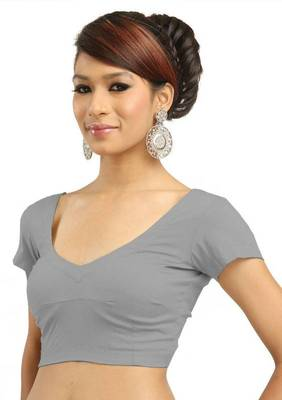 Grey Cotton Silk Unstitched Blouse - PSB001