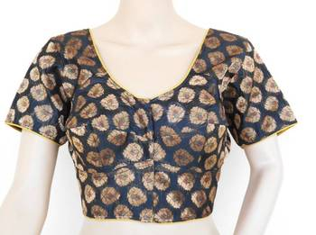 Black Chanderi blouse with short sleeves