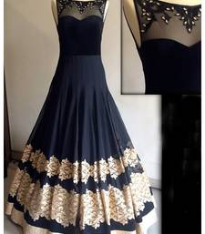 Buy Black georgette embroidered semi stitiched indian party wear gowns party-wear-gown online