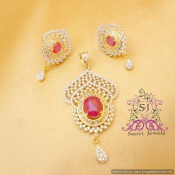 Ruby American Diamond Pendant Set