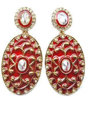 Superb Red Meena Indian Wedding Saree Earrings
