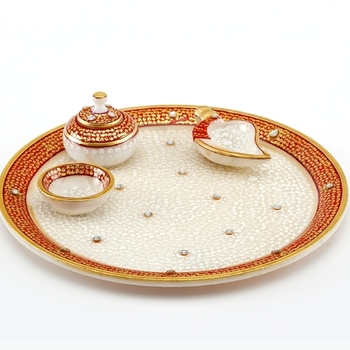 Marvel In Marble - Gold Embossed Aarti Thali_64