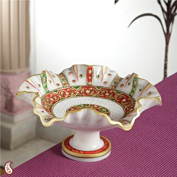 Marble Fruit Bowl with Gold work