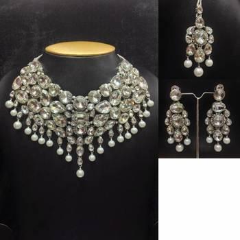 Designer Chocker Jewelry Set in Silver Color Outline