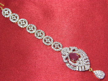 Beautiful broad chain Maangtika with Pink Ruby