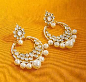 Kundan Pearl Chand Bali Earrings