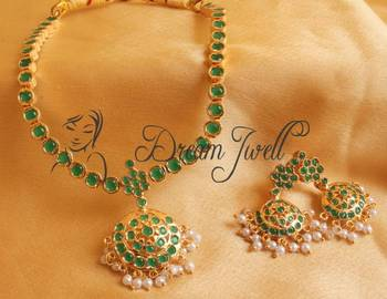 GORGEOUS SEMI PRECIOUS EMERALD SOUTH INDIAN STYLE NECKLACE SET