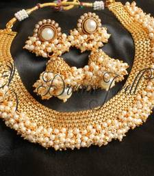 Buy  BEAUTIFUL DESIGNER PEARL CLUSTER NECKLACE SET-DJ04373 south-indian-jewellery online