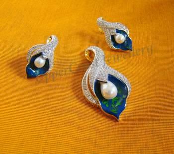 Zircon Pearl Pendant Earring Jewellery Set