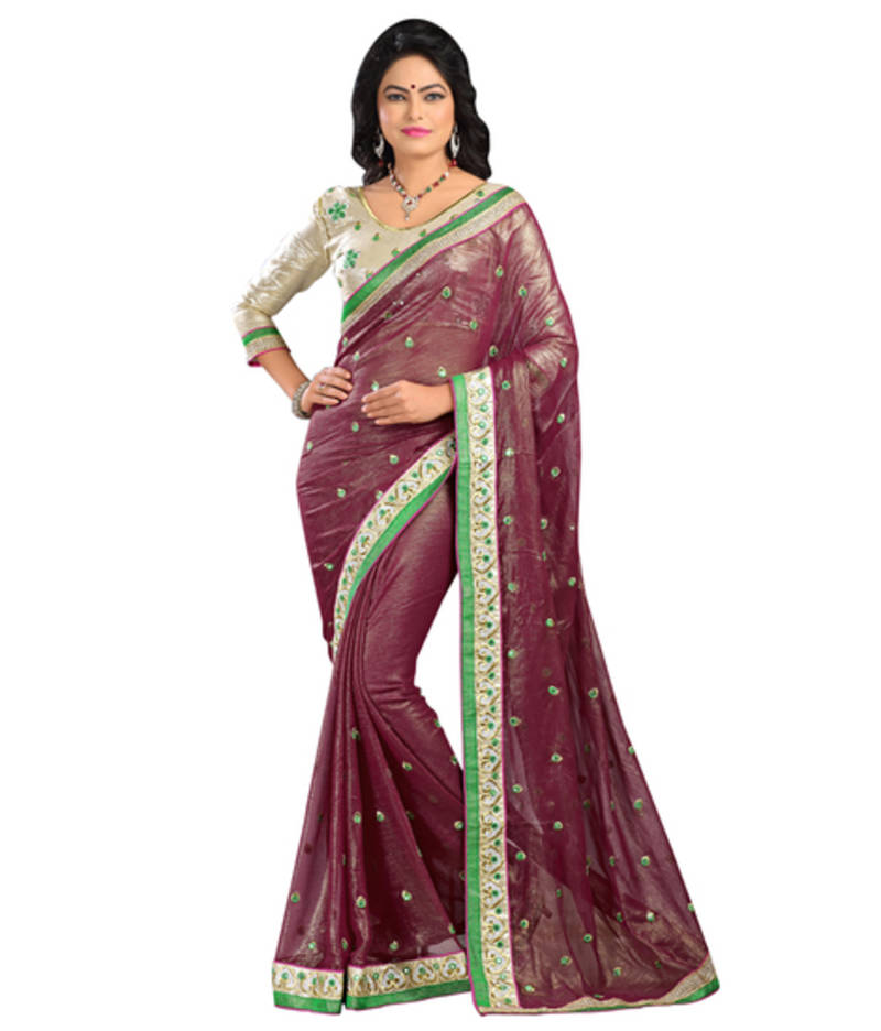 Buy brown embroidered with mirror work chiffon saree with for Mirror work saree