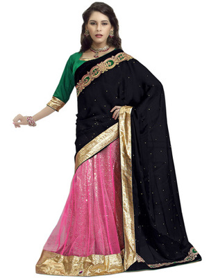 Multi Color Velvet, Net Designer Border Worked Lehenga Saree