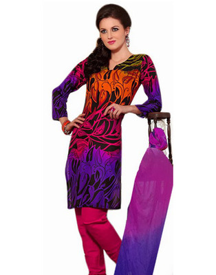 Designer Red, Purple Color Cotton Fabric Printed Dress Material
