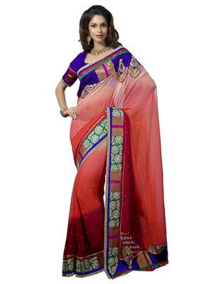 Designer Multicolor Color Faux Georgette Pading Fabric Embroidered Saree