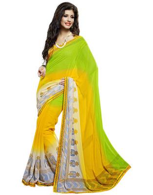 Designer Yellow Color Faux Georgette, Chiffon Fabric Printed Saree
