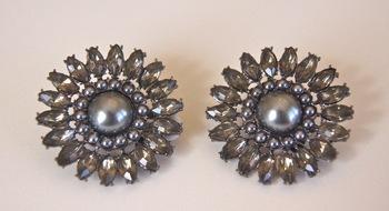 Black crystal and pearl earrings
