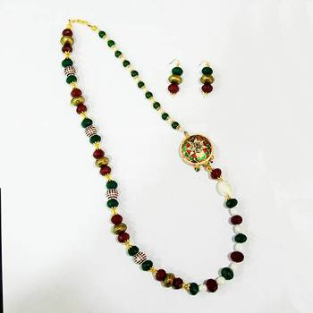 Meenakari Mala with Pearls and Side Pendant