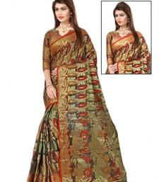 Buy multicolor woven cotton poly saree With Blouse cotton-saree online
