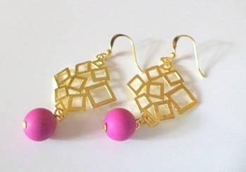 Bright Dark Pink Golden Rhombus Earrings