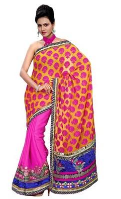 Triveni Vibrant Colored Traditional Embroidered Saree TSRH1001