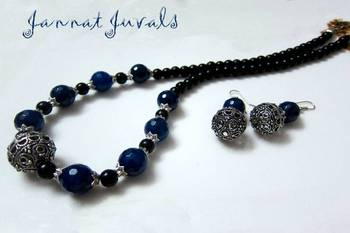 Rare Black and Blue Onyx necklace with earrings