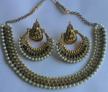 Designer Black colour Necklace with Traditional Black colour Ramleela Earings